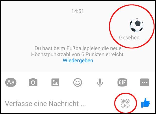 So geht's: Unten rechts bei den Emojis den Fußball auswählen, verschicken und dann auf den verschickten Ball tippen.