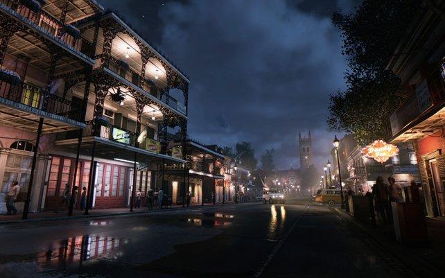 Authentisch: Das New Orleans aus dem Jahre 1968 brilliert mit wunderschönen Lichteffekten und Spiegelungen in Pfützen.
