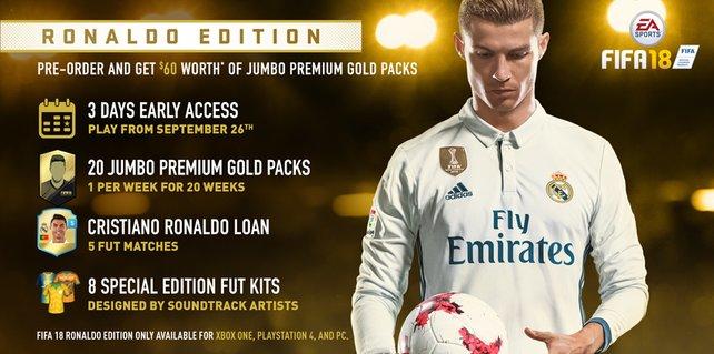 """Die Ronaldo Edition lockt euch vor allem mit dem Vorabzugang und zahlreichen """"FUT Gold""""-Sets."""