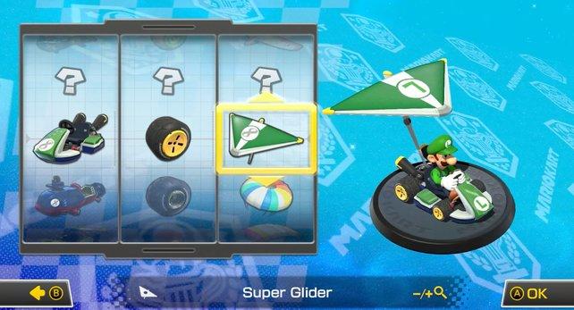 Ihr müsst euer Fahrzeug individuell zusammenbauen: Wählt Kart, Reifen und Gleiter nach euren Wünschen.