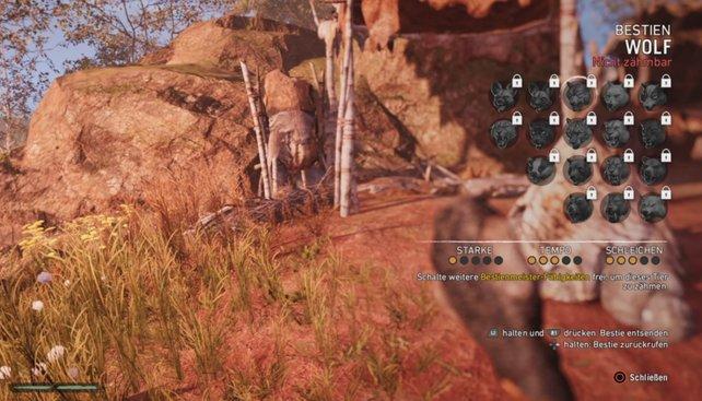 Far Cry Primal: Im Menü wechselt ihr eure aktive Begleiter-Bestie aus.