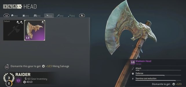 Die Anzeige rechts verrät euch, wie sich die legendäre Ausrüstung auf die Werte auswirkt.