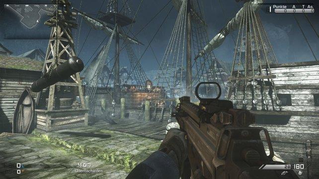 Alles an Bord! Im Hafengebiet geht es auf und um das Piratenschiff herum rund.