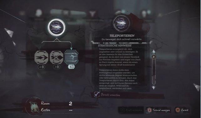 Teleportieren: Diese Fähigkeit von Corvo hilft euch auf der Flucht vor Gefahren.