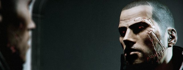 Dieses Bild aus Mass Effect 2 zeigt, wie sich schlechte Entscheidungen auch äußerlich auf Commander Shepard auswirken.