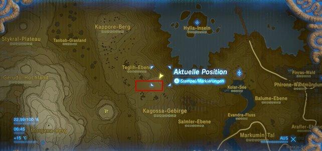 Das rote Viereck zeigt euch, wo ihr die Bokblin-Gruppe findet.