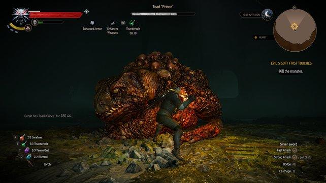 Geralt im Kampf gegen die Riesen-Kröte.