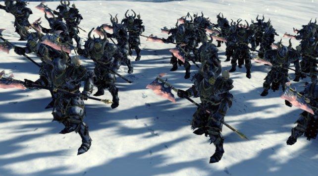 Mit Äxten bewaffnete, gut gepanzerte Chaos-Krieger