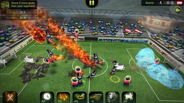 Wenn Kühe über den brennenden Rasen rennen: FootLOL ist ein launiger Strateige-Fußball-Mix.
