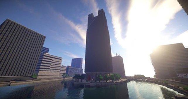 """Die Karte """"Siege of Shanghai"""" aus Battlefield 4 - für Minecraft nachgebaut von spieletipps-Leser Jonathan Pforr."""