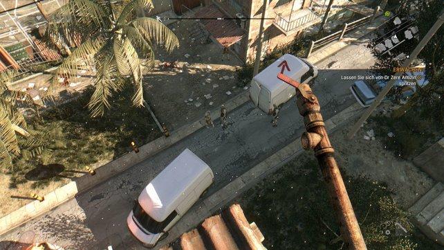 Auf den Dächern seid ihr sicher vor dummen Zombies.