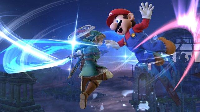 Mario gegen Link. Zwei Nintendo-Helden sind hier nicht gut aufeinander zu sprechen.