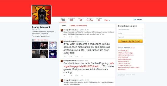 George Broussard bewirbt gerne Kickstarter-Projekte auf Twitter.