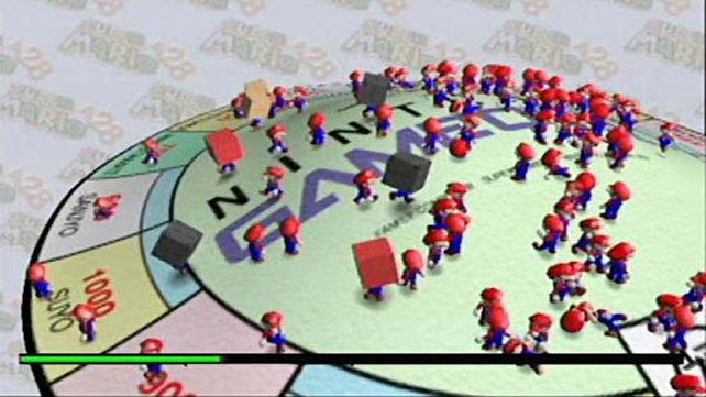 128 Marios tummeln sich auf dem Bildschirm und beweisen die Technik des Gamecube.