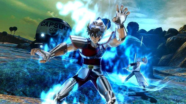 Seiya teilt mit seiner Pegasus-Meteroiten-Faust gut aus.