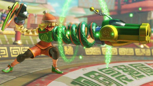 Min Min besitzt einen schießenden Drachen-Arm. Ihre Arena ist eine riesige Nudelschüssel.