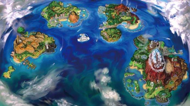 Die Alola-Region besteht aus vier natürlichen und einer künstlichen Insel.