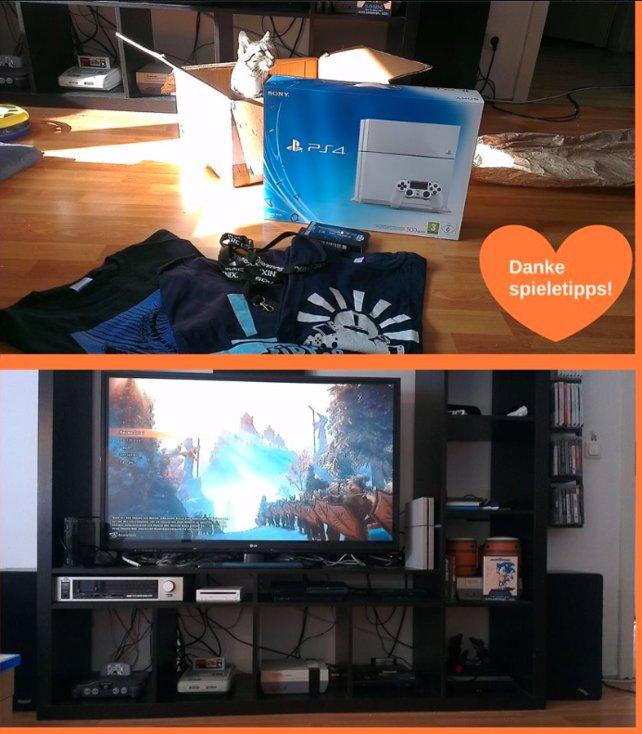 Bei Gewinnerin Carina hat die PS4 bereits ein neues Zuhause gefunden.