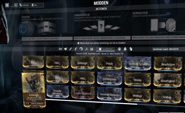 Kubrow Modding, kombiniert nützliche Kampf-Fähigkeiten verschiedener Kubrows