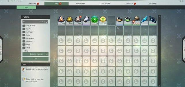 Zerlegt Items oder wechselt die Klasse, um Platz im Inventar zu schaffen.