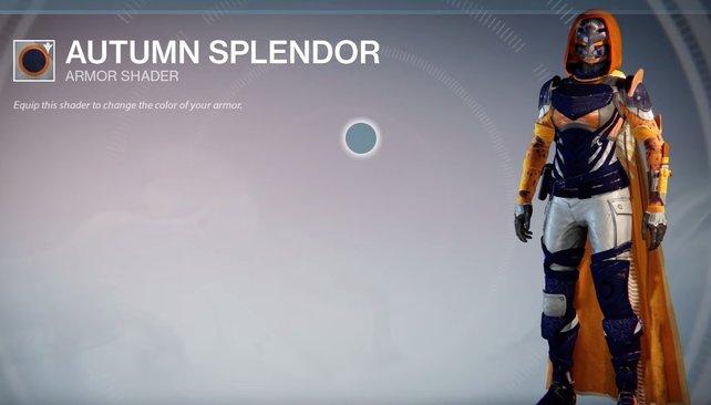 Autumn Splendor: Herbstliches Orange kombiniert mit weißen und blauen Rüstungsteilen.