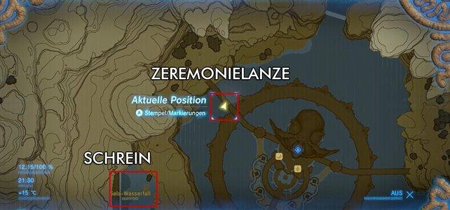Auf der Karte seht ihr, wo sich die Lanze und der Schrein befinden.
