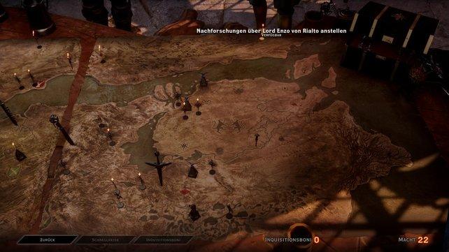 Auf der strategischen Karte plant ihr Einsätze der Inquisition.