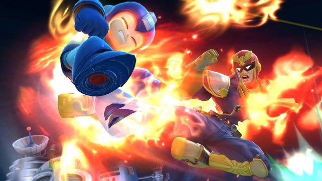 Das hat weh getan! Megaman und Captain Falcon tragen eine Meinungsverschiedenheit aus.