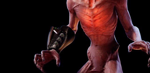 Zusätzlich trägt der Sektoid einen Blaster-Waffe am Arm