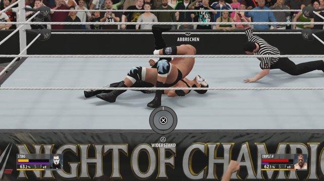 Kampftipps in WWE 2K16: Pins sind erst im späteren Verlauf des Matches effektiv.