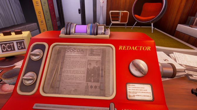 We Happy Few beginnt in einem Büro. In der Rolle von Arthur schwärzt ihr Zeitungsberichte der Vergangenheit.