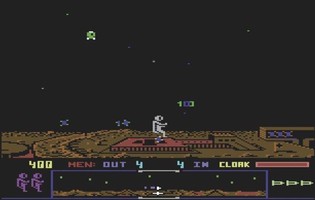 Zufall oder Absicht? Bereits im 80er-Hit Dropzone für 8Bit-Computer sammelt man blaue Orbs und liefert sie ab.
