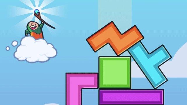 Aus Tetris-Blöcken baut ihr immer höhere Türme, bis sie umstürzen.