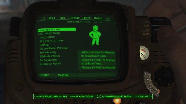 """In """"Vault 88 erforschen"""" müsst ihr drei Steuertafeln finden und in die Werkbänke einbauen."""