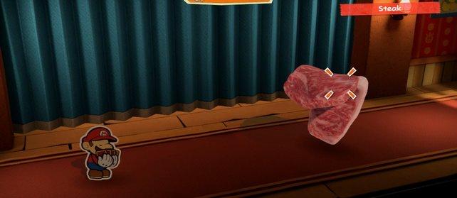 Wenn das Steak etwa so ausschaut, habt ihr es ausreichend mit dem Hammer bearbeitet.