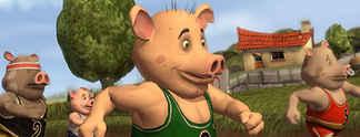 Schweineparty: Sportspiel mit schweinischen Athleten