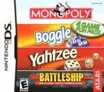 Monopoly, Boggle, Yahtzee, Battleship
