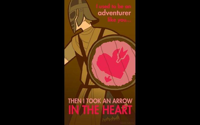 """""""Ich war auch mal ein Abenteurer ... dann bekam ich einen Pfeil ins Herz"""" - eine romantische Abwandlung des Standard-Satzes vieler Wachen."""