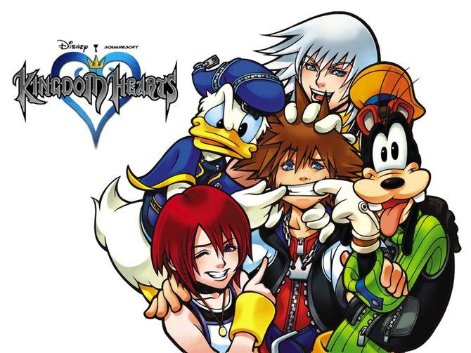 Da lacht er. Sora umgeben von Kairi, Donald, Riku und Goofy.
