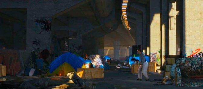 In Los Santos hausen Obdachlose in Pappkartons ...