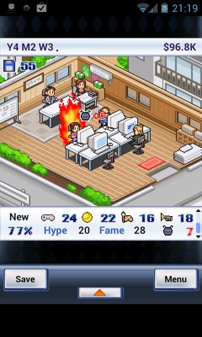 Im wohl berühmtesten Titel von Kairosoft, Game Dev Story, leitet ihr eine aufstrebende Spieleschmiede.
