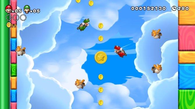 New Super Mario Bros. U rüstet auf: Mit dem Eichhörnchenanzug schwebt ihr ...