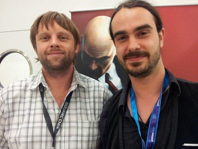 Entwickler Torben Ellert, Agent 47 und spieletipps-Redakteur Marius Nied geben sich auf ...