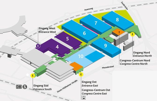 Die Hallen 6, 7 und 8 beherbergen große Spielehersteller wie Electronic Arts, ...
