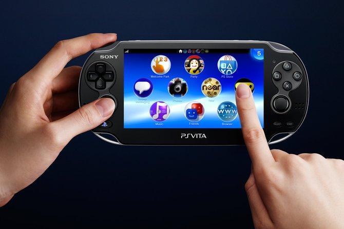Playstation Vita bietet einen großen berührungsempfindlichen Bildschirm (links) ...