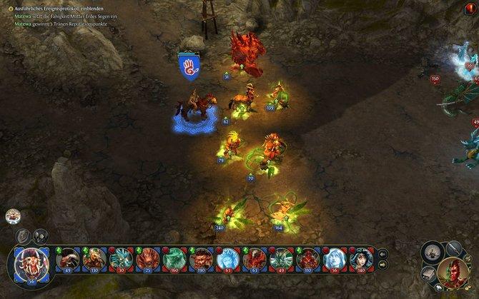Zunächst stellt ihr eure Ork-Armee auf und wirkt noch einen Verstärkungszauber. Die gegnerischen Drachen hindern ...