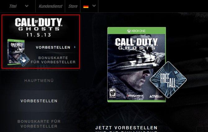 Erscheint die Xbox One am 05. November? Sowohl die offizielle Seite zu CoD - Ghosts ...