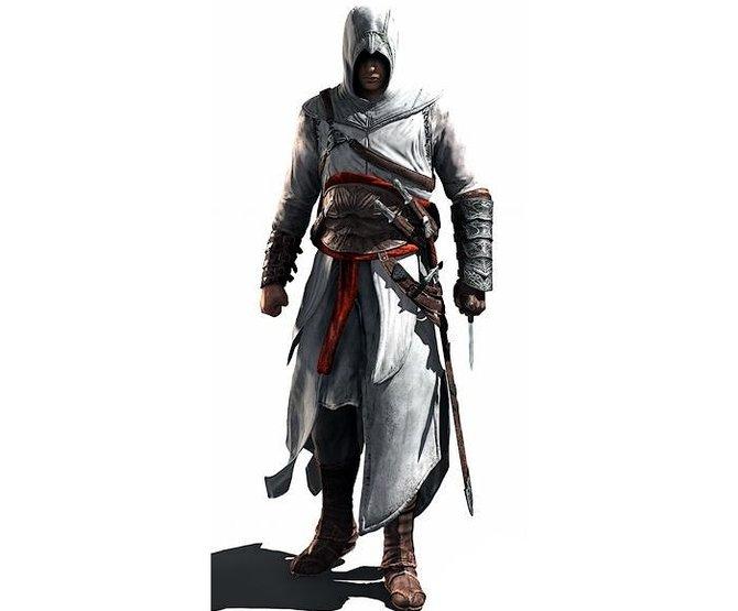 Altair (Bild 1), Ezio (Bild 2) und Connor (Bild 3). Ihre Geschichten spielen in unterschiedlichen Zeitaltern. Altair trägt einfache Kleidung, ...