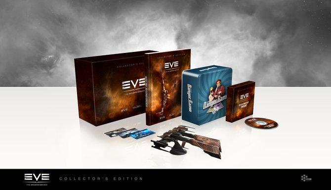 So soll die Sammlerausgabe von Eve aussehen. Die einzelnen Elemente sind derzeit noch in Arbeit, etwa die Farbe des Schiffs mit den vier USB-Anschlüssen kann sich noch ändern.