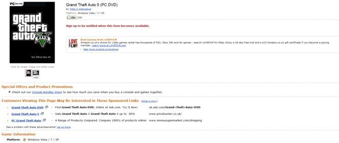 Auf den ersten Blick nichts ungewöhnliches: GTA 5 auf der britischen Amazon-Seite.